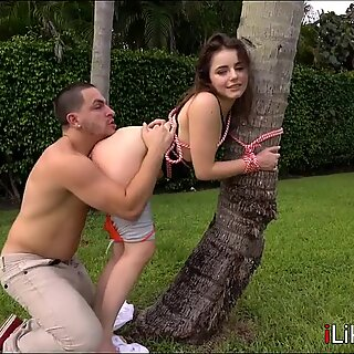 Teen tied up and fucked in backyard