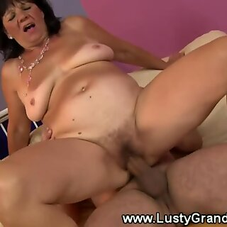 round grandma receives oral and gives boob job